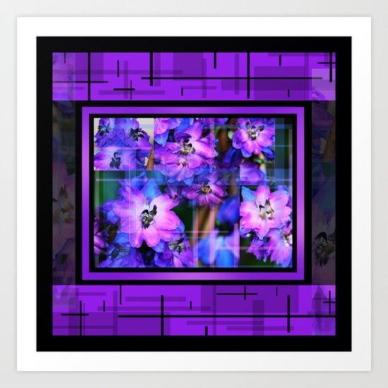 Beautiful Purple And Blue Flowers Box Type 2 Art Print