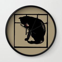 Black cat modern woodcut style Wall Clock