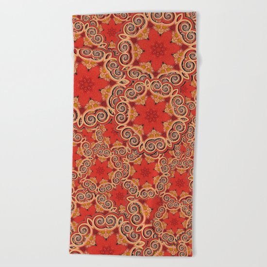 K143 - Red Curls Abstract Beach Towel
