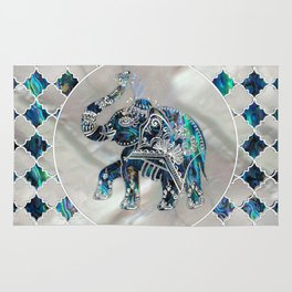 Silver Framed Elephant on Abalone and Pearl Rug