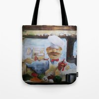 chef Tote Bags featuring THE CHEF by MELANIE GERVAIS ART