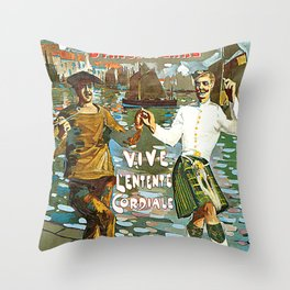 France to England, Brest to London vintage travel ad Throw Pillow
