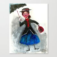 mary poppins Canvas Prints featuring Mary Poppins by Damian Alexander
