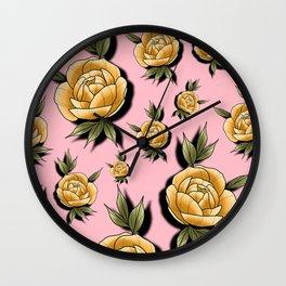 Peony Paradise Pink Wall Clock