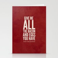 parks and recreation Stationery Cards featuring Bacon and Eggs - Ron Swanson - Parks and Recreation by Sandra Amstutz