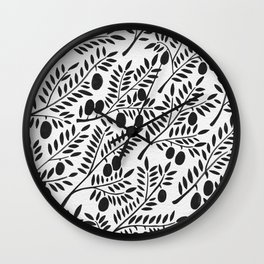 Black Olive Branches Wall Clock