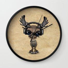 Cute Musical Moose Dj Wearing Headphones Wall Clock