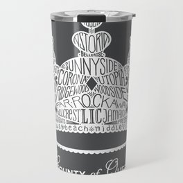 County of Queens | NYC Borough Crown (WHITE) Travel Mug