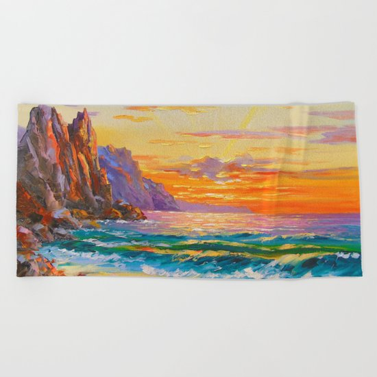Sunset on the rocky shore Beach Towel