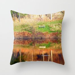Water reflections on the river | waterscape photography Throw Pillow