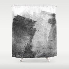 Black and Grey Concrete Texture Urban Minimalist Shower Curtain