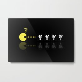 Pacman with Anonymous Ghosts Metal Print
