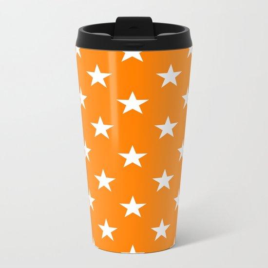 Stars (White/Orange) Metal Travel Mug