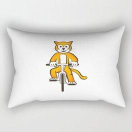 Cat on a bike Rectangular Pillow