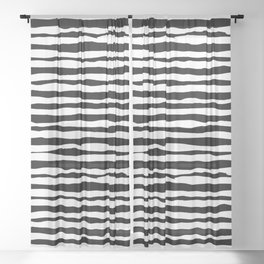 Black and White Stripes Sheer Curtain