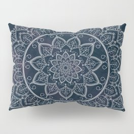 Blue Textured Lace Mandala Pillow Sham