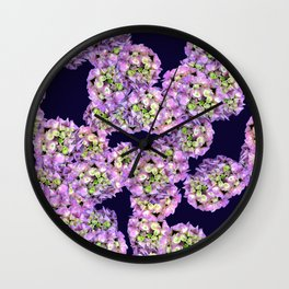 Hydrangea Rich Purple Wall Clock