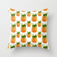 pinapple Throw Pillows featuring kingapple by sustici