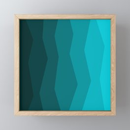 Aqua Turquoise Teal Geometric Gradient Framed Mini Art Print