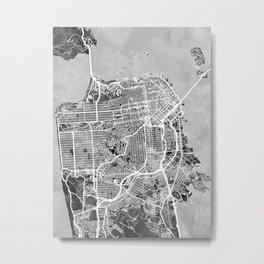 San Francisco City Street Map Metal Print