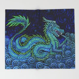 Chinese Azure Dragon Throw Blanket