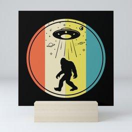 Bigfoot alien saucer retro sunset Mini Art Print