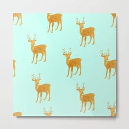 mint gold deer Metal Print