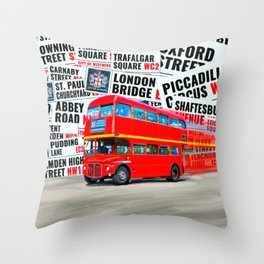 Classic London - Red Double Decker Bus Throw Pillow