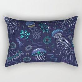 Into the Deep Jellies - Navy Rectangular Pillow