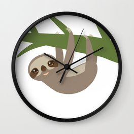 Three-toed sloth on green branch Wall Clock
