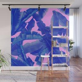 tropical banana leaves pattern,pink,blue Wall Mural