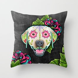 Labrador Retriever - Yellow Lab - Day of the Dead Sugar Skull Dog Throw Pillow