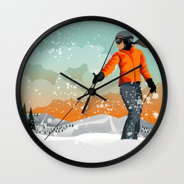 Skier Looking Wall Clock