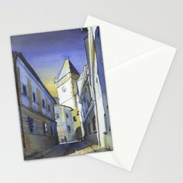 Tabor, Czech Republich belltower.  Watercolor painting of belltower in medieval village of Tabor Stationery Cards