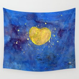 Heart shape Full Moon in the Universe Wall Tapestry