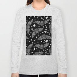 Creepy Cute Black and White Bat Pattern Long Sleeve T-shirt