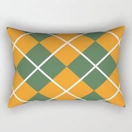 Orange and Green Checkered Pattern Rectangular Pillow
