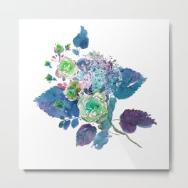 Bouquet in Blue Metal Print
