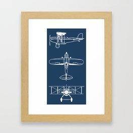 Biplanes // Navy Framed Art Print