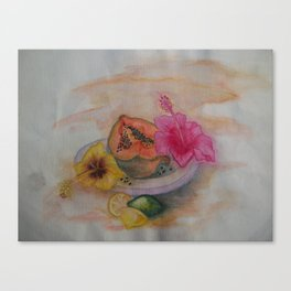 Tropical Fruits and Flowers Canvas Print