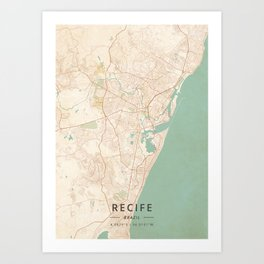 Recife, Brazil - Vintage Map Art Print