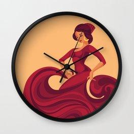 flamenco gypsy soul dancer in red florid dress Wall Clock