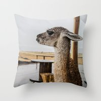 lama Throw Pillows featuring Lama by miloezger