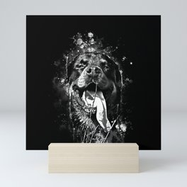 rottweiler dog long tongue wsbw Mini Art Print