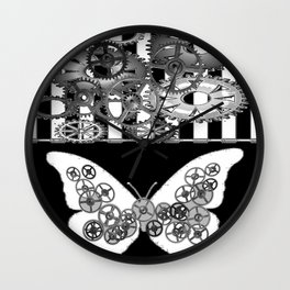 BLACK & WHITE CLOCKWORK BUTTERFLY ABSTRACT ART Wall Clock