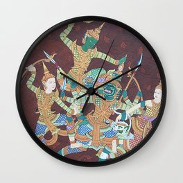 Cambodia traditional painting. Wall Clock