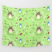 studio ghibli Wall Tapestries featuring Ghibli pattern by Sophie Eves