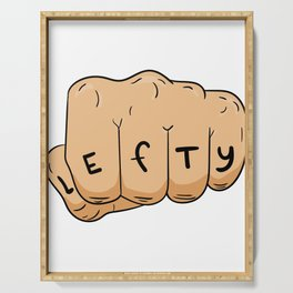 """A Lefty Tee For Left Handed People Saying """"Lefty"""" T-shirt Design Uncommon Rare Unique Hard To Find Serving Tray"""