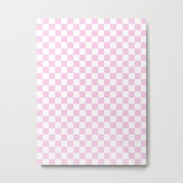 Small Checkered - White and Classic Rose Pink Metal Print