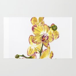 Yellow Phalaenopsis Orchid Traditional Artwork Rug